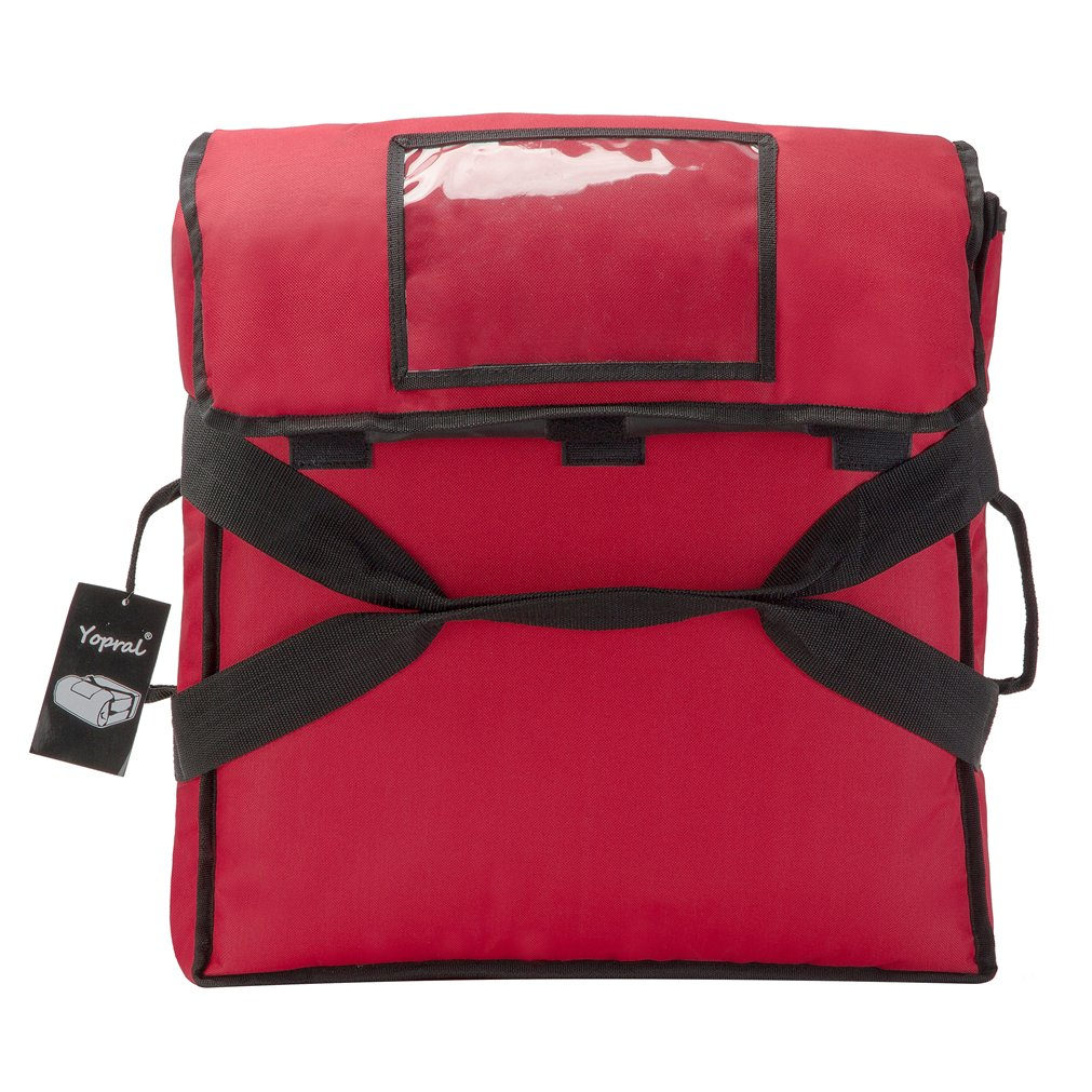 Yopralbags Insulated Food Delivery Bag Pizza Boxes Professional Warmer Carrier Moisture Free for 4-16'' or 3-18'' (Red, 20''X20''X9'') by yopralbags (Image #3)