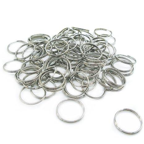 100 piezas anillas pequeñas para llaves,Anillo pequeñas para llaves de Aleación Plateada para de Organización de Llaves(Diámetro 15 mm)