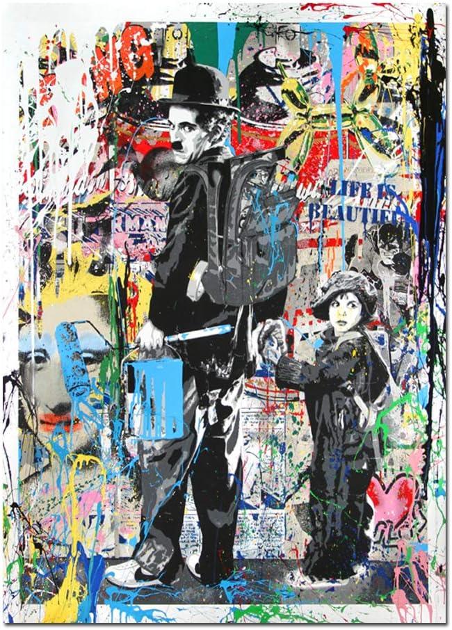 Orlco Art Graffiti Art Lienzo Banksy Graffiti Cuadro Einstein Art Prints Street Urben Pintura Arte colorido, lona, Charlie Chaplin, 36