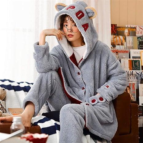 Pijama Mujer Algodon Invierno Invierno Gruesa Pijamas de Las ...