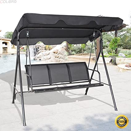 COLIBROX  Outdoor Patio Swing Canopy 3 Person Canopy Swing Chair Patio  Hammock Black,