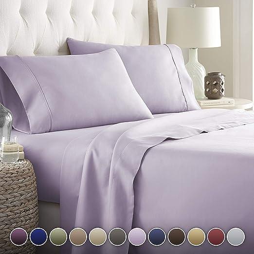 Noble Comfort Juego de sábanas de lino suave y lujoso, 4 piezas, 100% algodón egipcio, 20 cm de profundidad, patrón sólido de 500 hilos, colores (Euro King IKEA, lavanda).: Amazon.es: Hogar