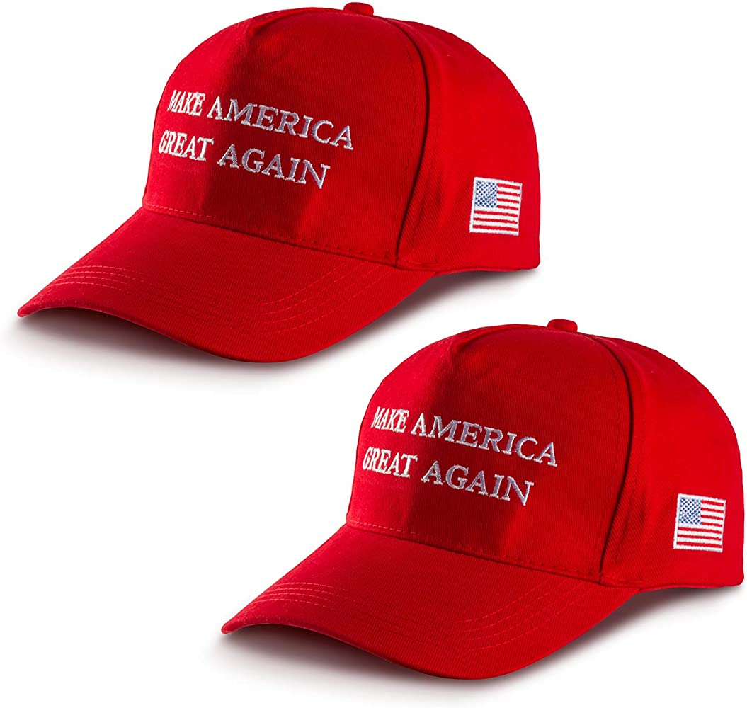 Solovey 2 Pack MAGA Hat Make America Great Again Hat Donald Trump Slogan Baseball Cap with USA Flag for Men Women Red, Large at Amazon Men's Clothing store