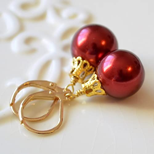 Amazon.com: Red Christmas Ball Earrings Gold Plated: Handmade