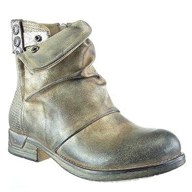 Angkorly - Damen Schuhe Stiefeletten - Reitstiefel - Kavalier - bi-Material  - gesteppt Schuhe 2b5b518681