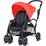 Costway Ultra 2in1 Stand&Ride Twin Baby Stroller Toddler Bassinet Pram Tandem Pushchair (Red)