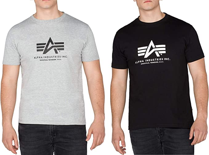 Alpha Industries 2er Pack Logo de la Marca Camiseta básica Ocio ...