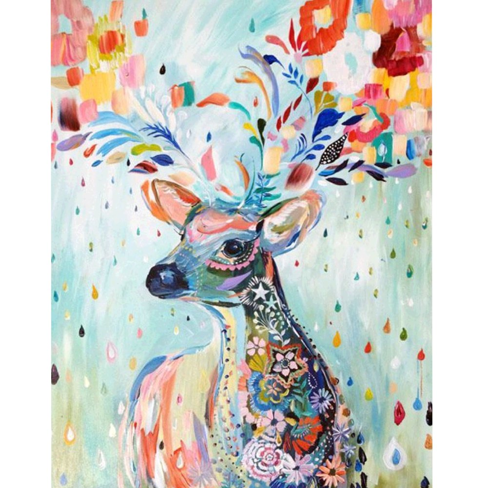5D Diamond Painting by Number Kit DIY Crystal Rhinestone Cross Stitch Embroidery Arts Craft Picture Supplies for Home Wall Decor, Watercolor Sika Deer - 11.8x14.6 inches MXJSUA 4336933217