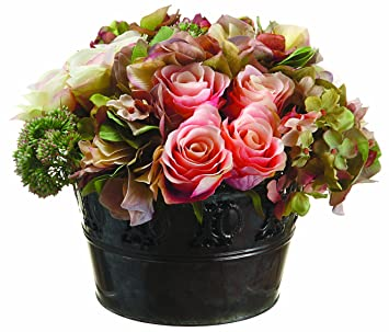 silk dcor hydrangearosesedum floral arrangements 8 inch pack of - Silk Arrangements For Home Decor 2