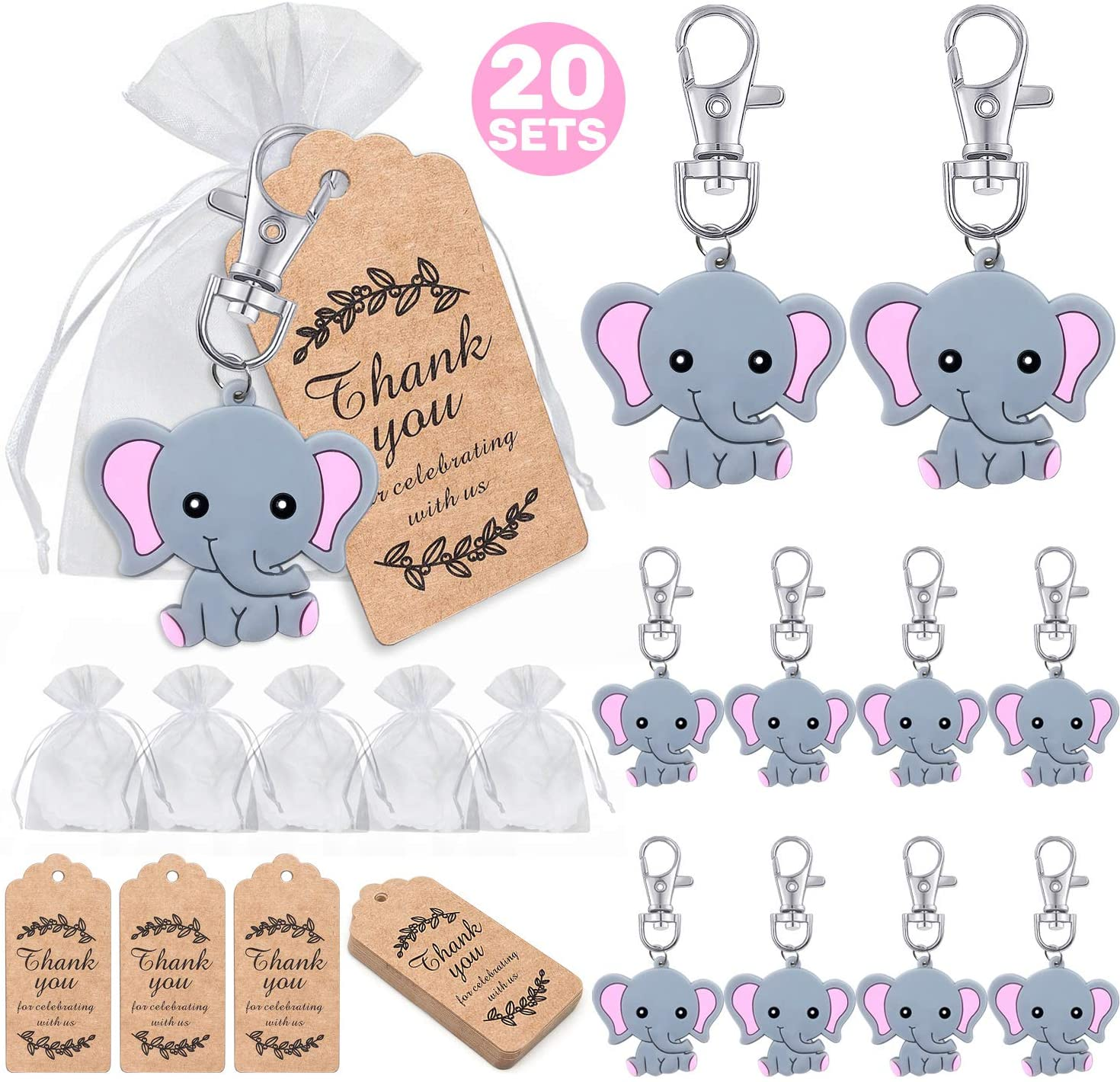 MOVINPE 20 Sets Baby Shower Return Gifts for Guests, Pink Baby Elephant Keychains + Organza Bags + Thank You Kraft Tags for Elephant Theme Party Favors, Girls Kids Birthday Party Supplies