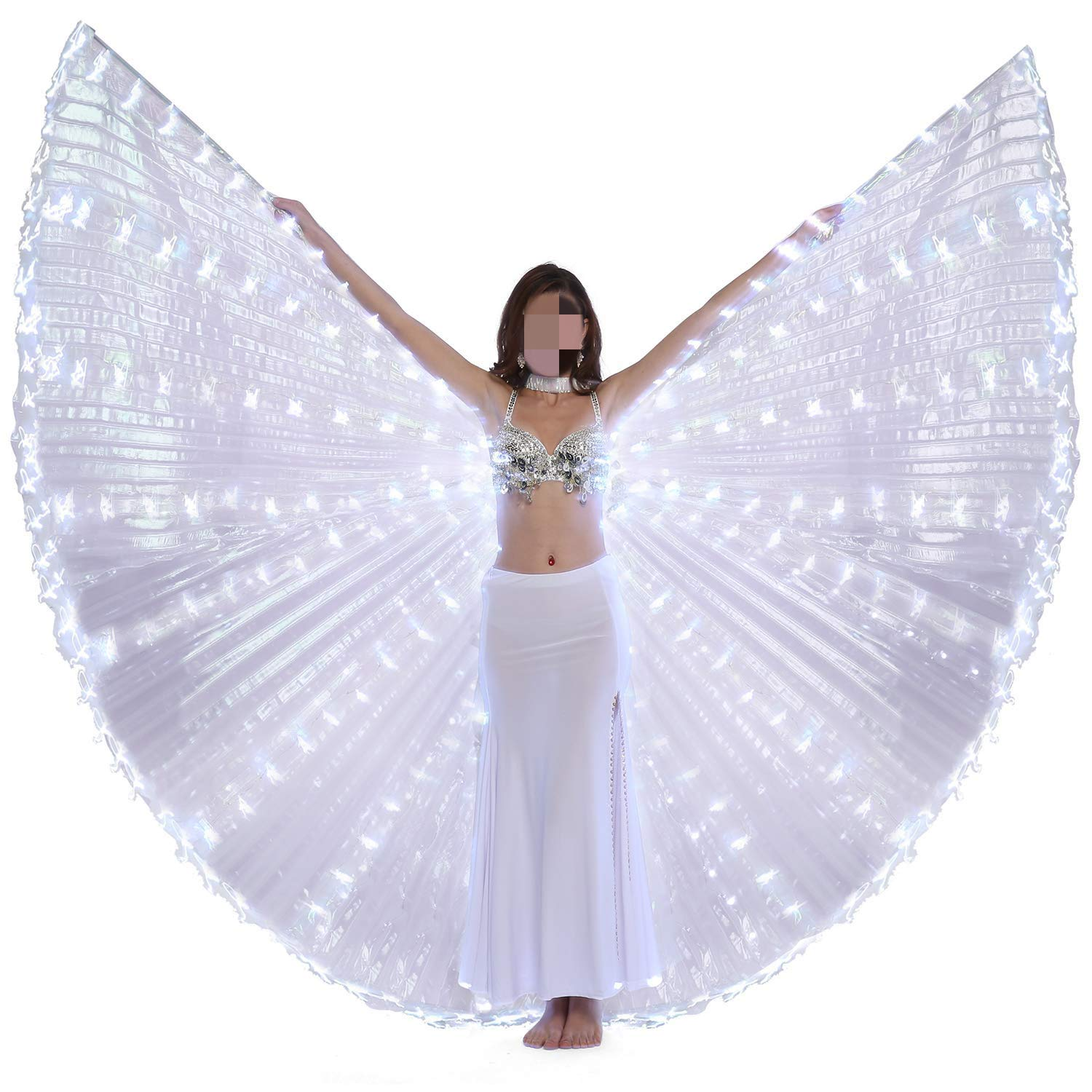 xiaoxiaoland εїз Belly Dance Wing with Rods-360 Degree Angel Wings with Portable Telescopic Sticks for Adults and Child,White-216 by xiaoxiaoland
