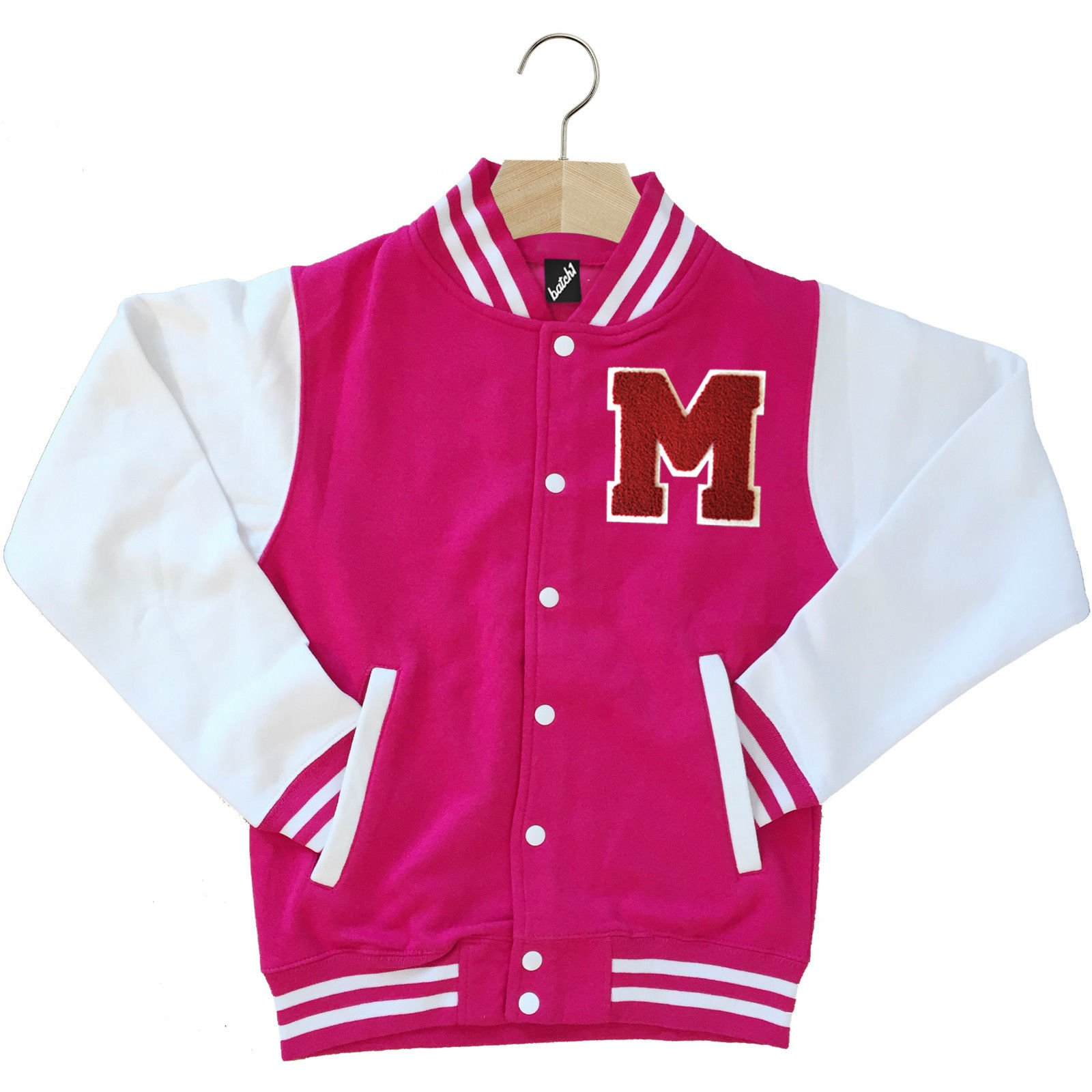 VARSITY BASEBALL JACKET UNISEX PERSONALISED WITH GENUINE US COLLEGE LETTER M by Batch1