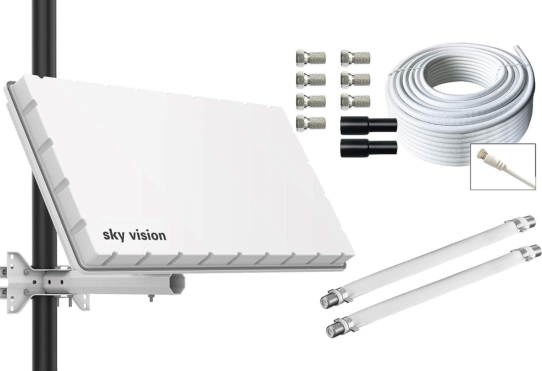 Antena Plana de satélite satélite de Skyvision Flat HQ Twin ...