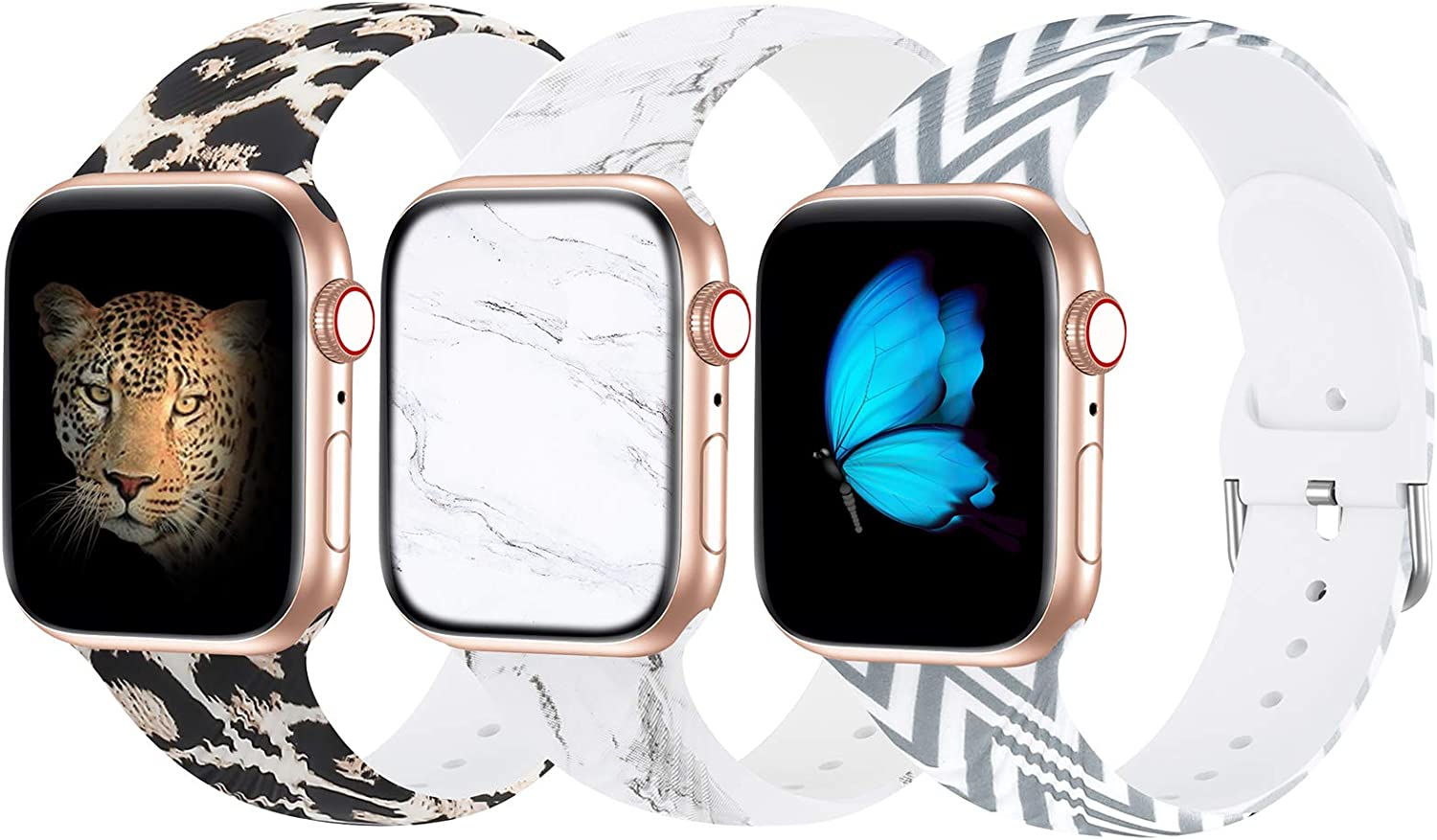 Seizehe Compatible with Apple Watch Band 38mm 40mm 42mm 44mm SE Series 6 Series 5, Silicone Floral Pattern iWatch Bands 38mm 40mm 42mm 44mm Womens Compatible for iWatch SE Series 6 5 4 3 2 1 3 Pack