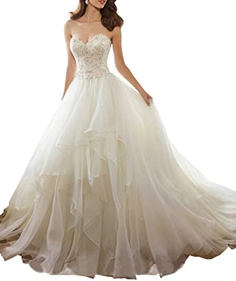 super popular sleek 2019 best Nicefashion Beading Lace Back Corset Organza Ruffles Wedding Dresses Bride  Gown