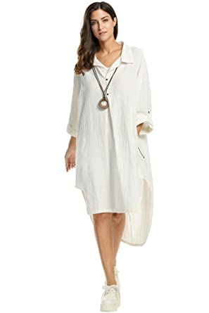 dddf44d71ef Image Unavailable. Image not available for. Color  Diaper Shirt Dresses for Women  Plus Size Long Sleeve White Linen ...