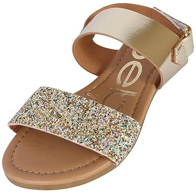81fbc83e9565 bebe Girls Metallic Sandals with Chunky Glitter Strap (Little Kid/Big Kid) (