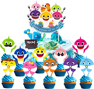Awe Inspiring Pantide 31 Pcs Baby Shark Little Shark Birthday Cake Topper Cute Funny Birthday Cards Online Alyptdamsfinfo