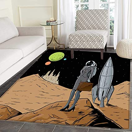 Amazon Com Astronaut Area Rug Carpet Business Woman In Space