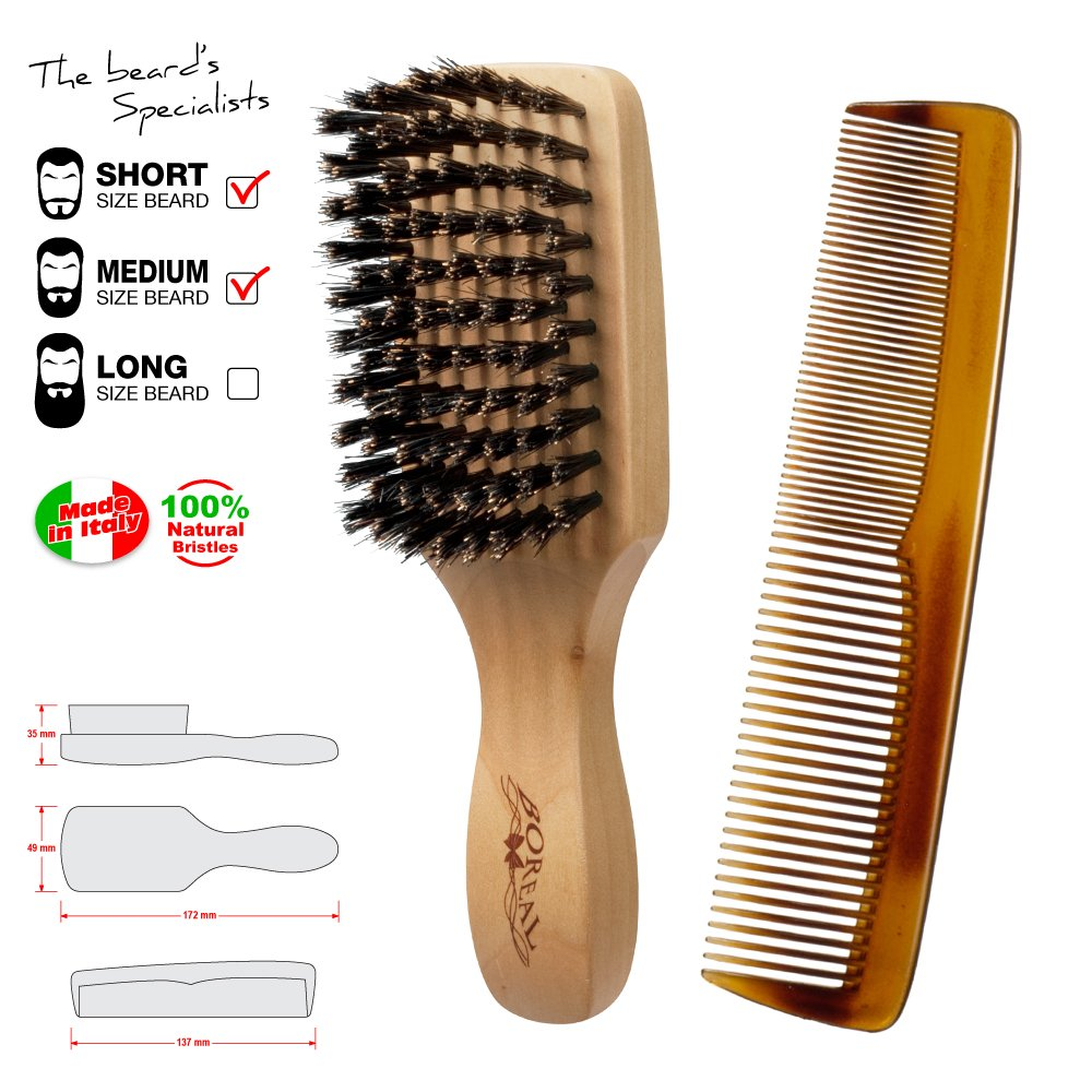 brosse a barbe et peigne moustache. Brush and comb for beard made in Italy. ippa srl