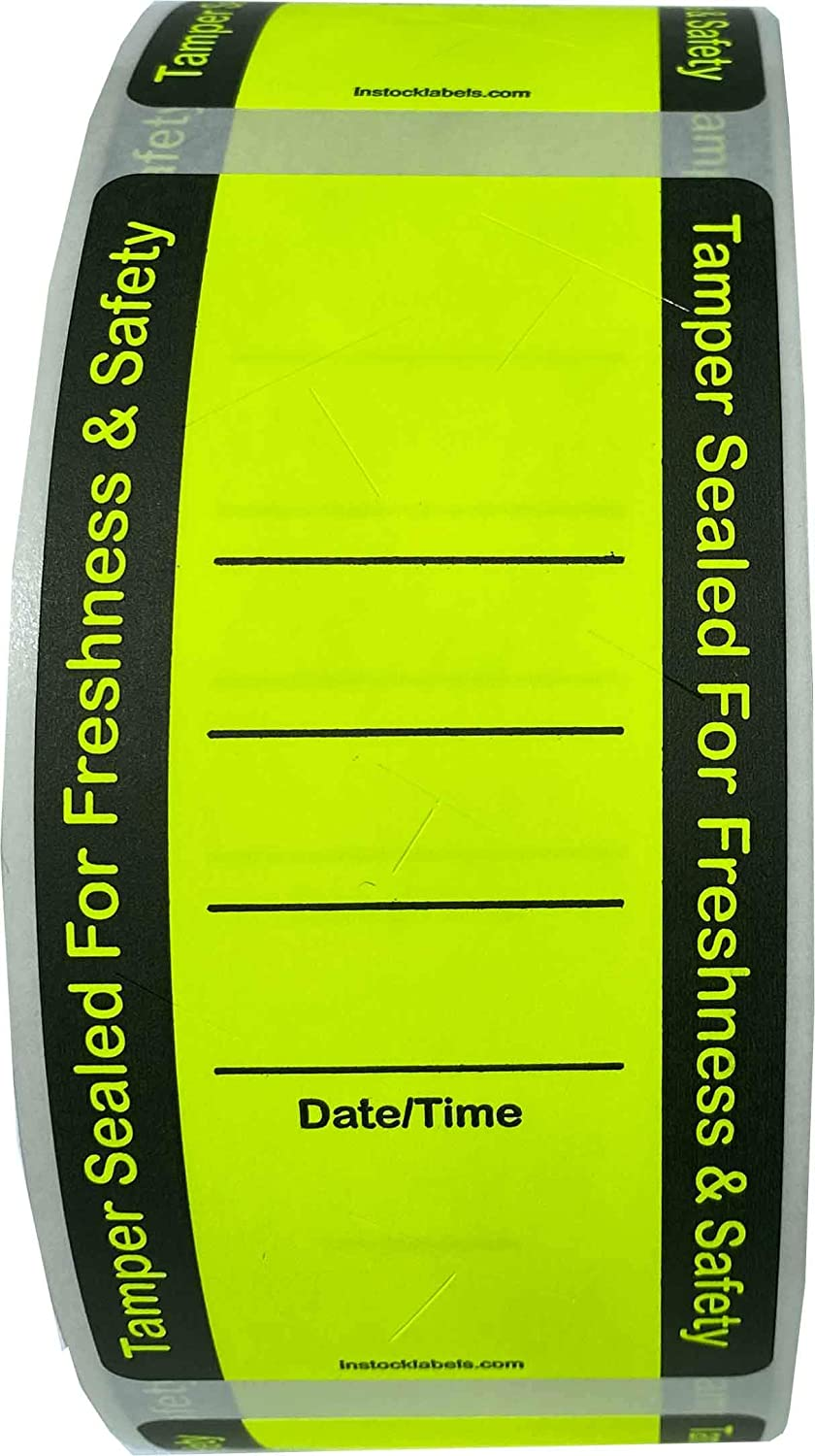Fluorescent Yellow Food Delivery Tamper Evident Labels 2 x 4 Inch 500 Total Adhesive Stickers