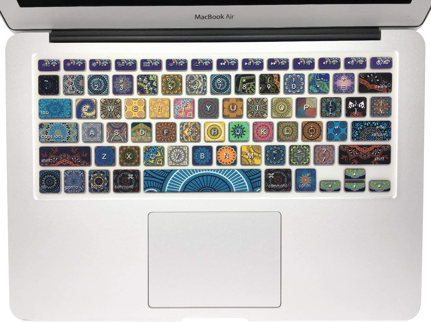 SANFORIN Silicone Keyboard Cover with Pattern for MacBook Pro 13/15 /17 Inch (with/Without Retina Display), Magic Keyboard and MacBook Air 13 Inch A1466/A1369, Bohemian Style