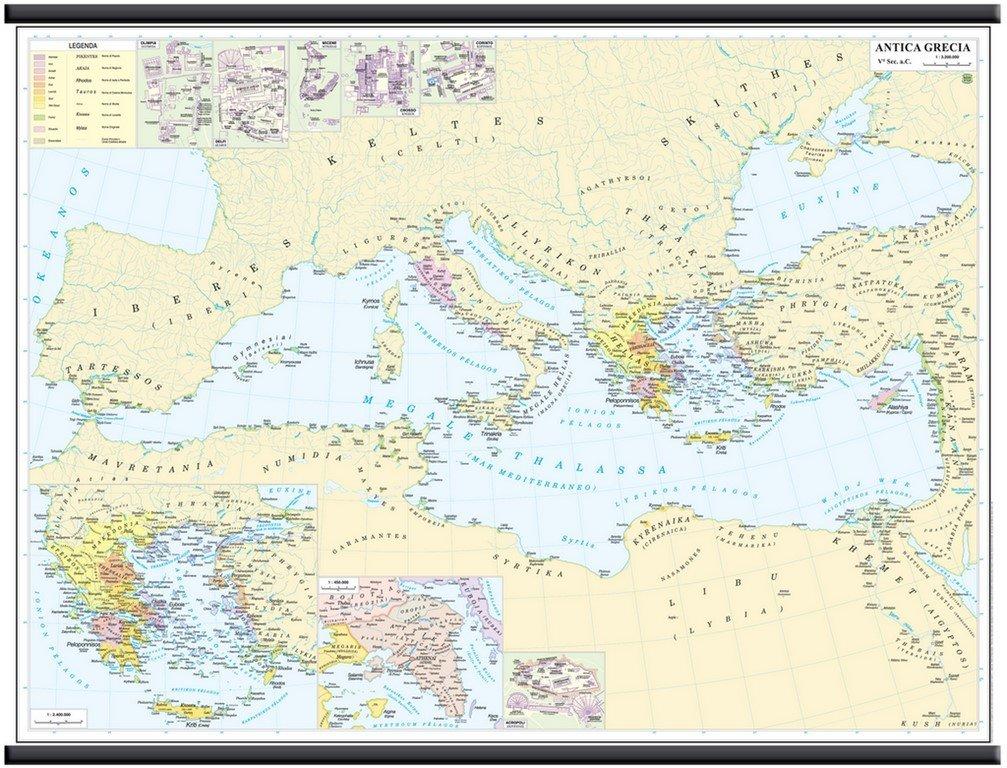 Antica Grecia [V° Secolo a.C.] Carta Murale Storica [132x99cm] Belletti