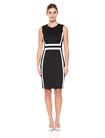 ad9d6e66 Calvin Klein Women's Sleeveless Color Block Sheath Dress, Black/White 18,  ...