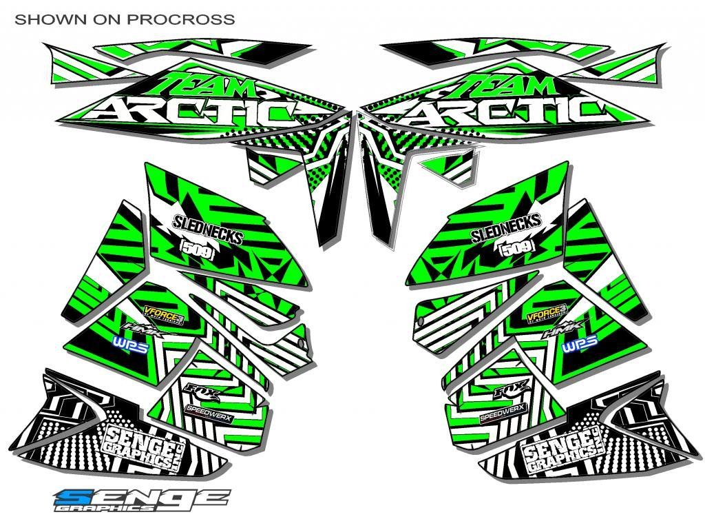 Senge Graphics 2010-2014 Arctic Cat Sno Pro 500 Mayhem Green Wrap