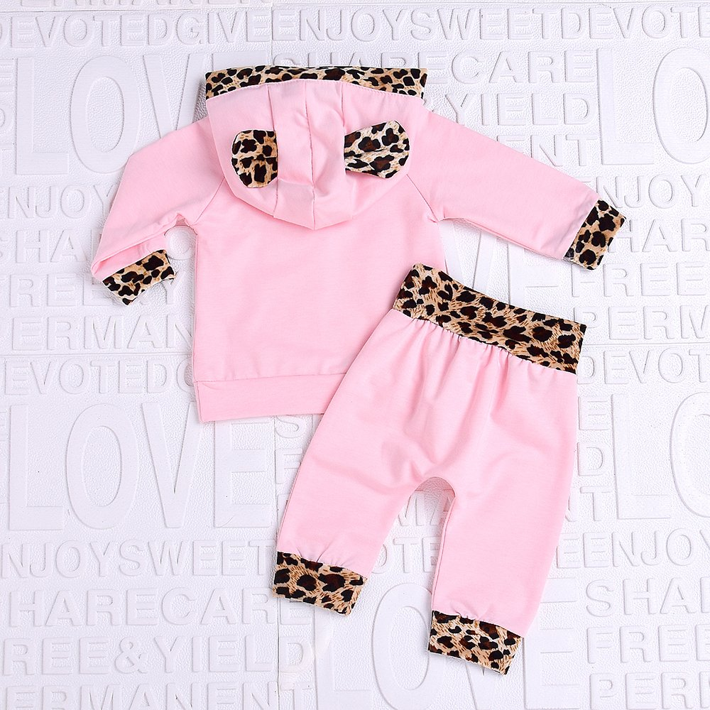 Aalizzwell 2Pcs Cute Newborn Baby Girls Pink Leopard Hoodie T-Shirt Top Pants Outfits Set