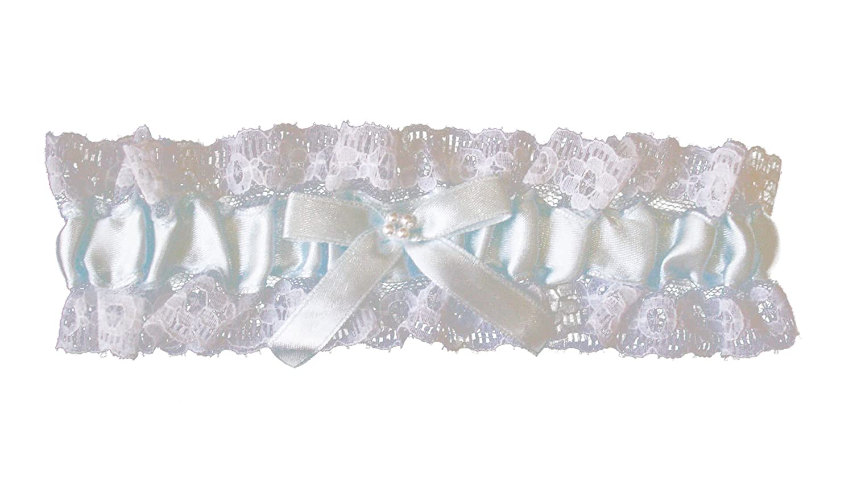 Blaues Strumpfband mit weißer Spitze und blauer Schleife u. Perlen