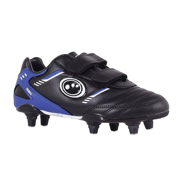 Optimum Tribal - Velcro 6 Stud, Chaussures De Football Garçons - Vert - Green Fluro Green/Black, 28 Eu