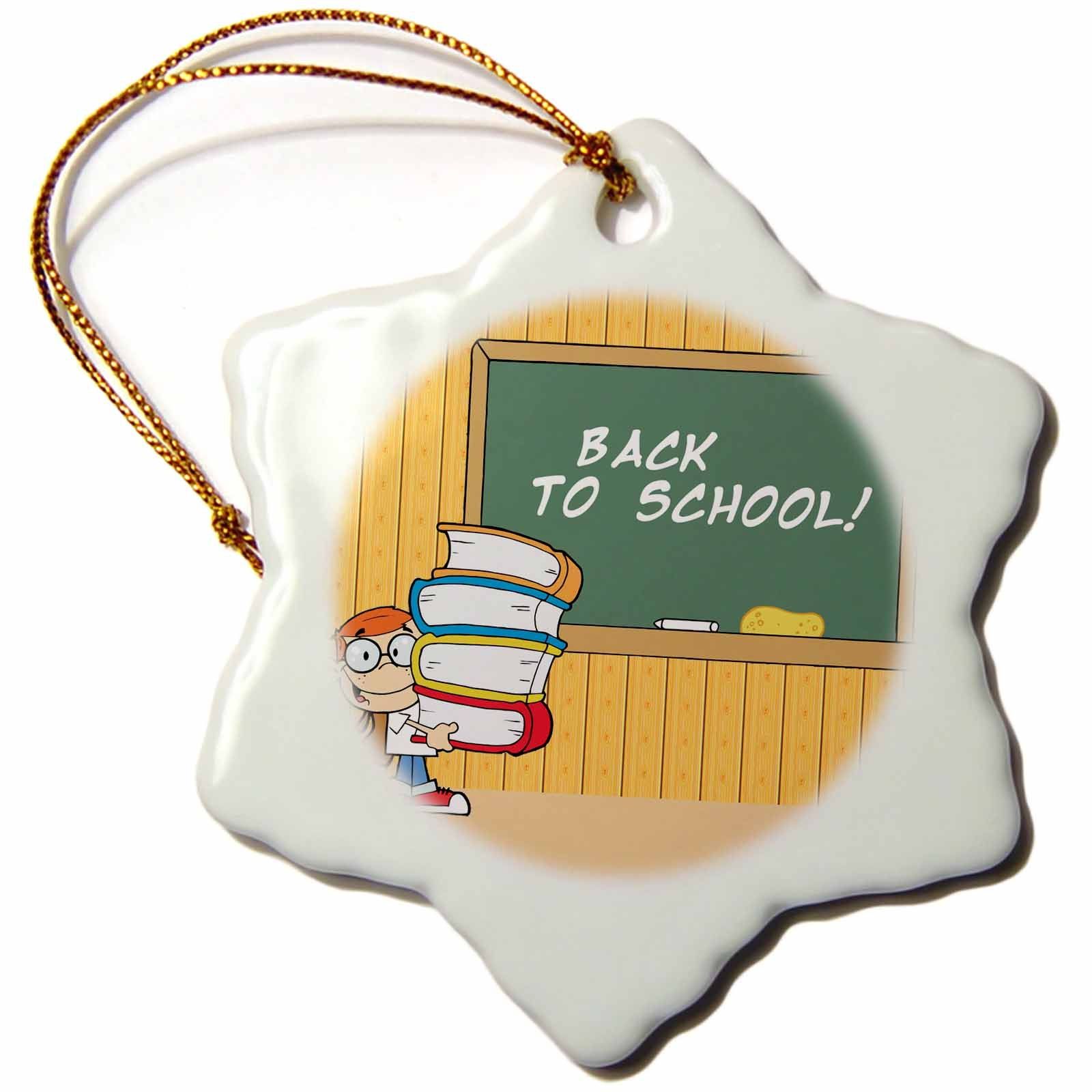 3dRose Kids Back To School - Snowflake Ornament, Porcelain, 3-inch (orn_60077_1)