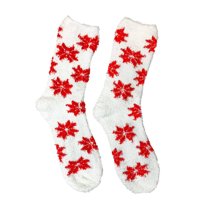 Set of 3 Modlines Womens Girls Fluffy Fuzzy Red//White Comfy Gift Socks