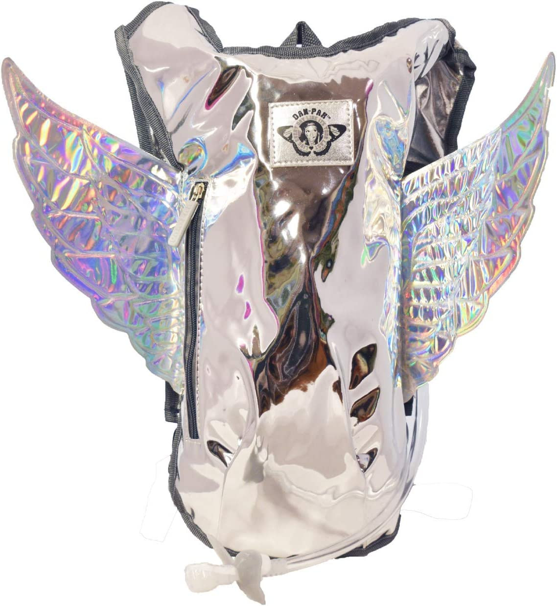 Dan-Pak Rave Hydration Pack 2l- Pegasus -Silver Mirror Bag with Holographic Wings.