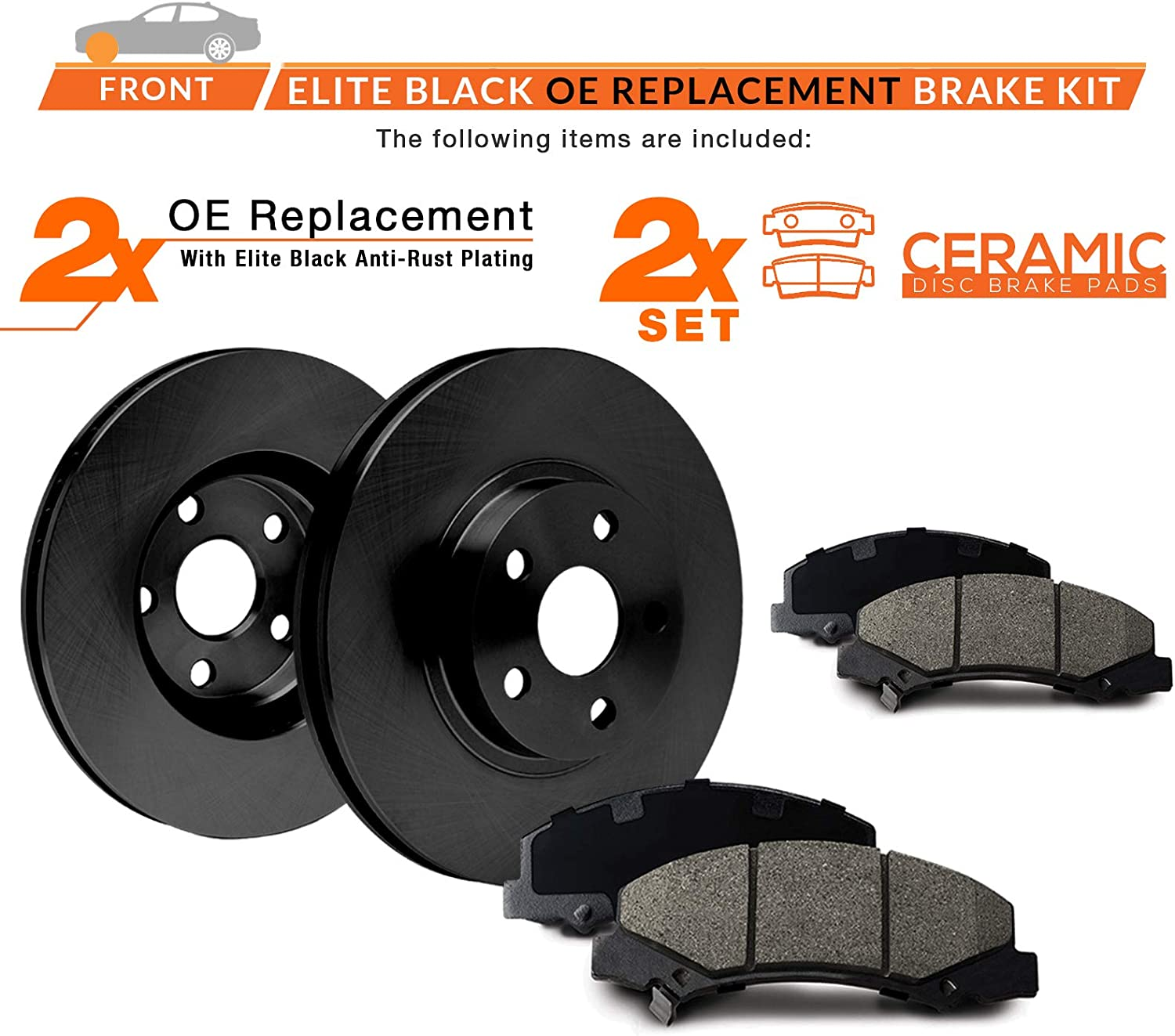 KT138901 E-Coated OE Rotors + Ceramic Pads Max Brakes Front Elite Brake Kit Fits: 2014 14 2015 15 2016 16 Ford Fiesta With Rear Drum Brakes