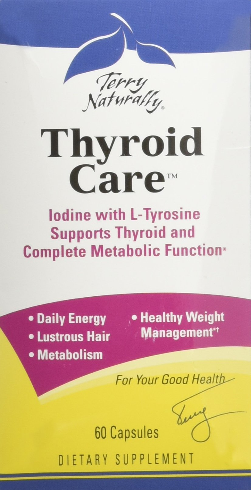 Terry Naturally Thyroid Care - Iodine + L-Tyrosine, 60 Capsules - Thyroid Support Supplement, Promotes Energy, Metabolism & Lustrous Hair - Non-GMO, Gluten-Free, Kosher - 30 Servings by Terry Naturally