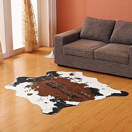 KOBWA Alfombra Piel de Vaca sintética, con Patas de Fila sintética, para Decorar la habitación de los niños/Debajo de la Mesa de café/guardería con ...