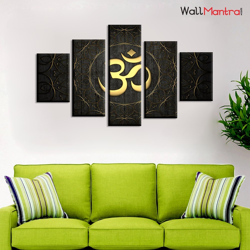 Wallmantra Designer Om Indian Spiritual Wall Painting 5 Pieces Canvas Print Wall Hanging Stretched And Framed On Wood 44 W X 24 H Home Decor For Living Room Bedroom Office Decoration Buy