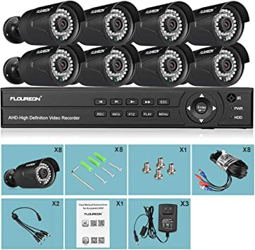 FLOUREON 8CH 1080N AHD DVR 8X Outdoor 1500TVL 720P Camera Security Kit 1TB HDD