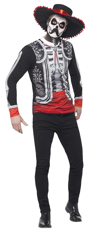 Smiffys Disfraz del día de Muertos, Negro, con Parte de Arriba con Estampado Digital y g
