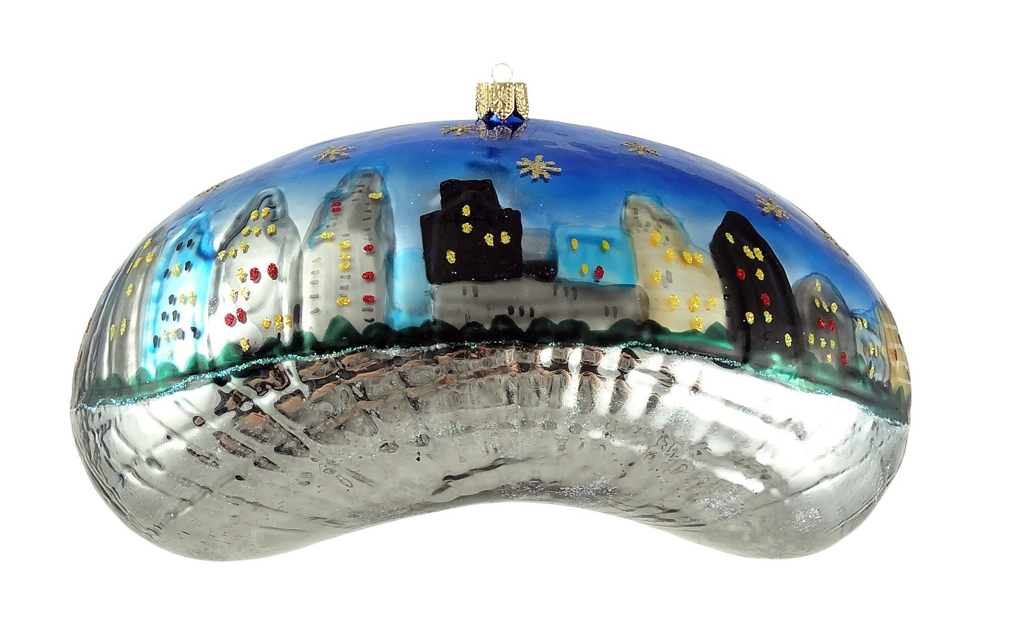 Amazon.com: Chicago Christmas Ornament - Bean - Night - Small ...