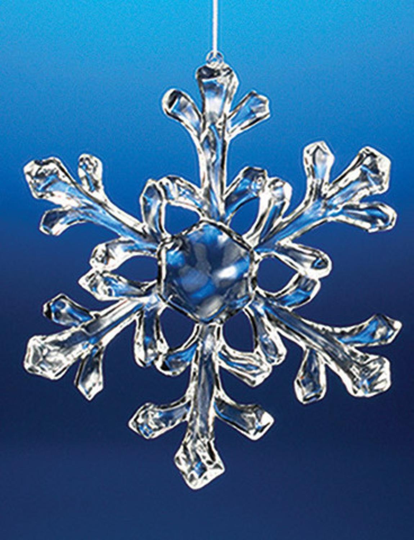 Club Pack of 18 Icy Crystal Decorative Medium Christmas Snowflake Ornaments 6''
