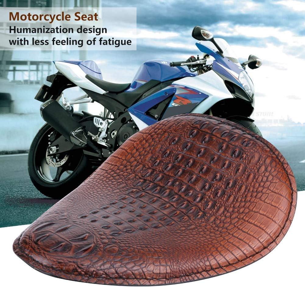 Motorfiets Zacht krokodillenpatroon Solo Zitkussen Bronzen Beugelveer Compatibel met Honda Yamaha (Brwon) Brwon