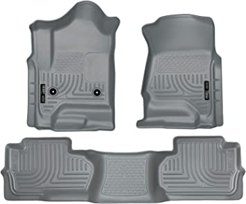 oEdRo Floor Mats Liners Compatible for 2014-2018 Silverado//Sierra 1500 Extend//Double Cab,2015-2018 2500//3500 HD Extend//Double Cab,Includes 1st /& 2nd Row Front and Rear