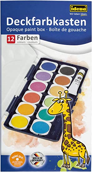 1 Tube Deckweiß Idena 24-er Deck-Farbkasten Malkasten Wasserfarbe Tuschkasten