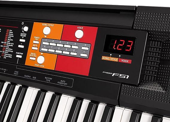 Yamaha PSR-F51 - Teclado digital portátil para principiantes o estudiantes con 61 teclas y Modo Dúo, color negro