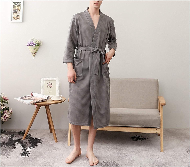 Solid Color Men Robe Casual Three Quarter Sleeve Robes Male Spring Autumn Kimono Bathrobe Gown Nightgown Yellow