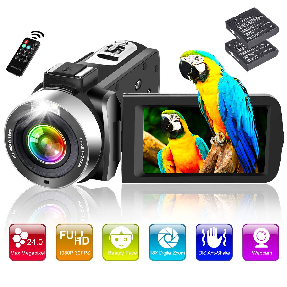 Video Camera Camcorder Full HD 1080P 30FPS 24.0MP 18X Digital Zoom Vlogging Camera for YouTube with 3 Inch 270 Degree Rotation Screen and 2 Batteries