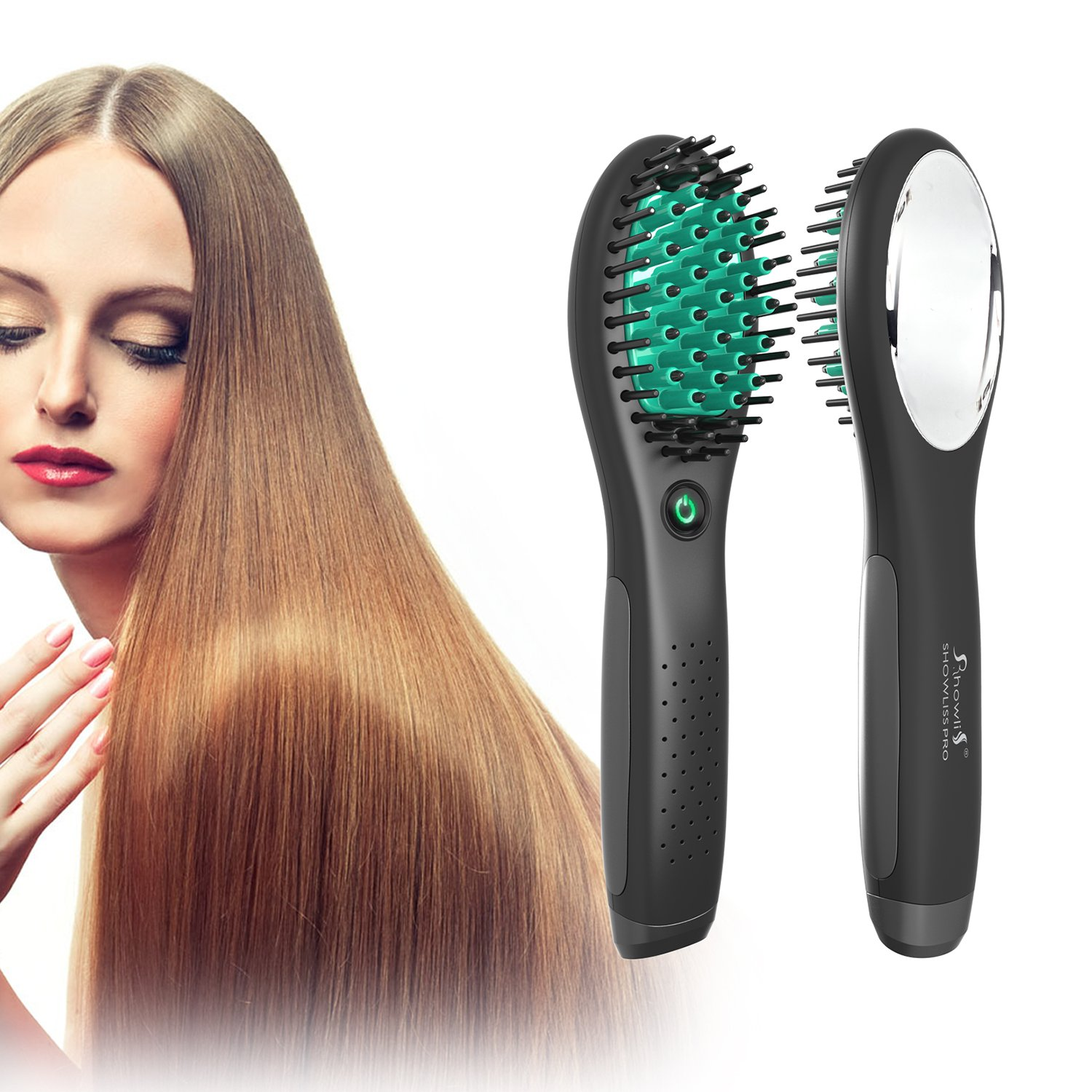 Travel Straightening Brush, Rechargeable Hair Straightening Brush (Black) by Showliss (Image #3)